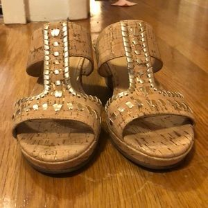 Jack Rogers wedge sandal gold and cork